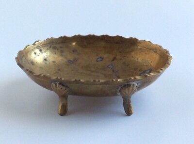 """Vintage Brass Claw- Foot 5"""" Soap Dish- Heavy Footed Trinket/Ring/Coin Dish"""