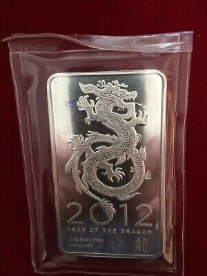 2012 Year of the Dragon 10 Ounce Pure Silver Bar Sealed