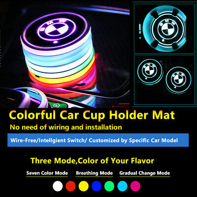 2pcs Colorful LED Coaster Atmosphere Car Parts Light Bulbs For Bmw Neon Lights