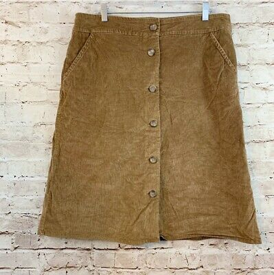 dbc7dc9f5 Lands End Womens Corduroy A Line Skirt Size 12 Button Front Stretch Sienna  Brown