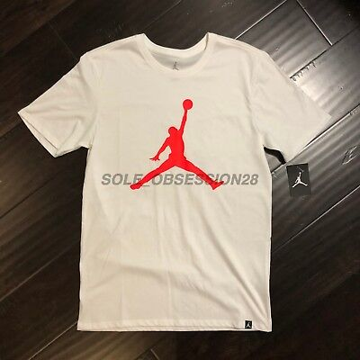 7f3f2774 NIKE AIR JORDAN Iconic Jumpman T-shirt Men's Large White/Infrared ...