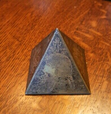 Vintage Egyptian Brass & Copper Metal Etched Hieroglyphics Pyramid