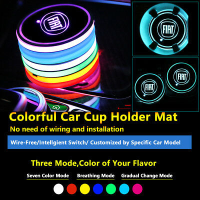 2pcs Colorful LED Coaster Atmosphere Car Parts Light Bulbs For Fiat Neon Lights