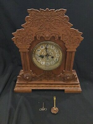 Antique Waterbury Company Mantel Clock w/Key B3