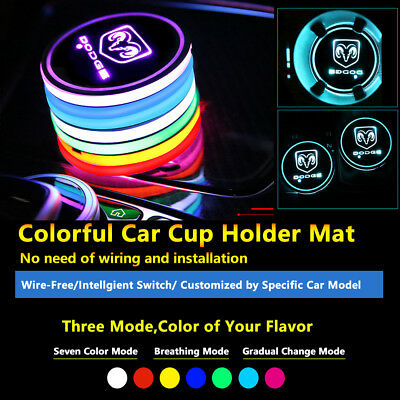 2pcs Colorful LED Coaster Atmosphere Car Parts Light Bulbs For Dodge Neon Lights