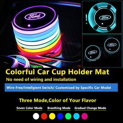 2pcs Colorful LED Coaster Atmosphere Car Parts Light Bulbs For Ford Neon Lights