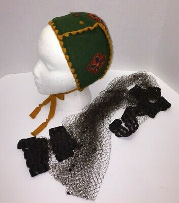 Vintage Childs Bonnet Hat Cap And Mesh Brown Scarf Lot Collectible Rare