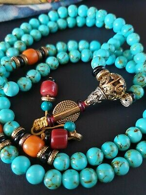 Old Tibetan Meditation Prayer Mala Necklace with Local Stones …beautiful collect