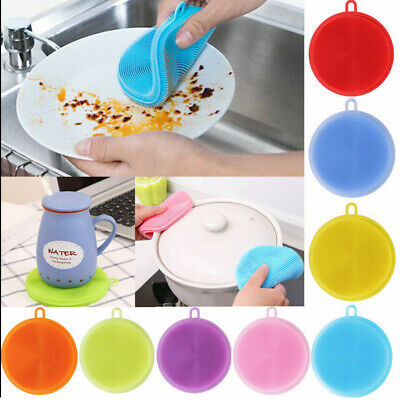 10Washing Up Sponge Silicone Dish Scrubber Kitchen Cleaning Brush Reuseable Tool