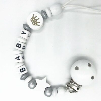 Personalized pacifier clip Baby Holder dummy Clip  Wooden beads