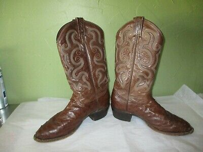 5cde4ba41b4 BLACK JACK FULL Quill Ostrich Brown Leather Cowboy Western Boots 9 1 ...