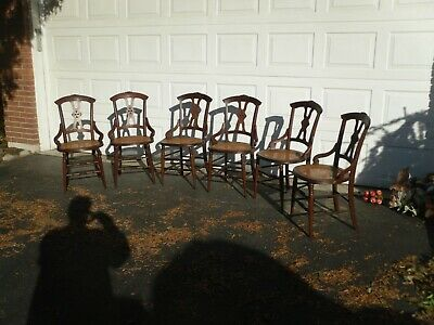 Antique Victorian Black Walnut Dinning Chairs Set of Six