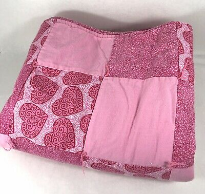 "Handmade Baby Quilt Pink With Hearts Multiple Pink Tone Quilt Blocks 36""x39"""