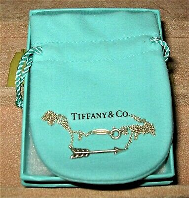 NIB Authentic NEW TIFFANY & Co. Sterling Silver Arrow Necklace with Pouch & Box