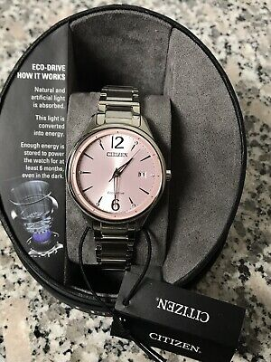NWT Citizen FE6100-59X Eco Drive Women's Pink Dial Stainless Steel Watch New