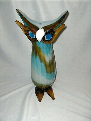 Vintage Hand Blown Crystal Art Glass Green Blue Owl Bird Vase Mexico? Gorgeous