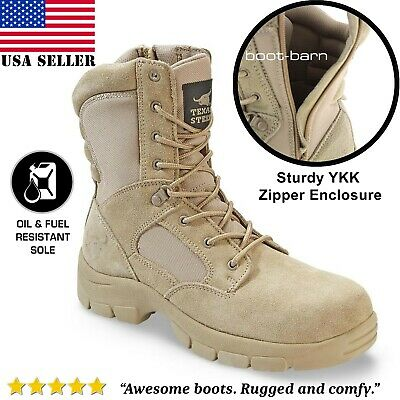 Texas Steer Mens Combat Military Tactical Work Boots Zipper Army Tan Hunting
