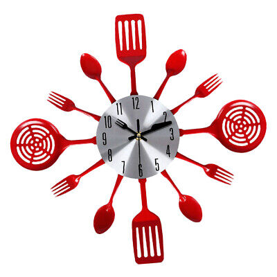 Kitchen Utensil Clock-Silver-Toned Forks, Spoons, Spatulas Wall Clock