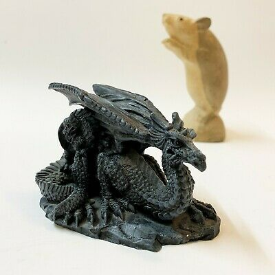 Black Gothic Fantasy Dragon & Infant Dragon Resin Figurine Ornament  7cm Tall