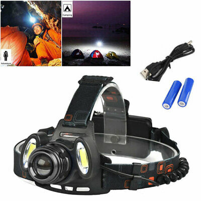 New LED Zoomable Headlight Torch T6 Headlamp Head Light Lamp Rechargeable ZHMF
