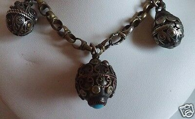 """Vtg Edwardian Victorian Etruscan 800 Silver 3 FOB Turquoise 24"""" Charm Necklace"""