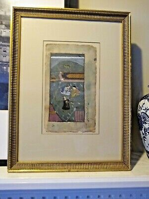 Antique Indo Persian Islamic Watercolor - 19th Century- Framed/matted