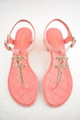 c88e147150f7 Chanel 18C Pink Goatskin Quilted CC Chain Logo Thong Strap Slide Heel Sandal  36