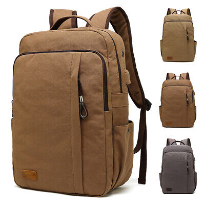 Men's Travel Canvas Backpack USB Charging Rucksack Hiking Laptop School Bag