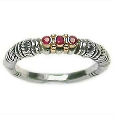 Gerochristo 2193 ~ Solid Gold, Silver & Rubies ~  Medieval-Byzantine Band Ring