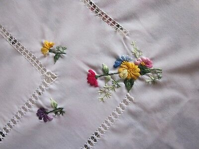 White Embroidered Table Cloth 145 Cm Wide X 200 Cm Long  Brand New.