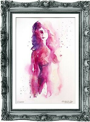 original painting modern woman 157BA watercolor peinture femme nue A3