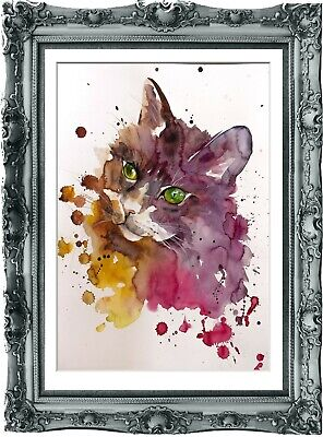 original painting cat watercolor 79BK peinture originale art A3
