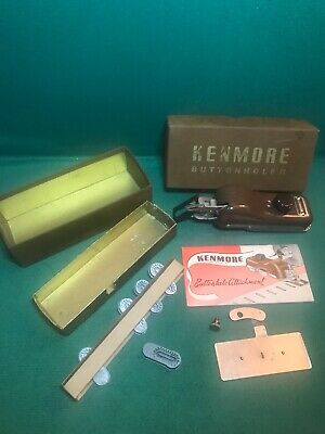 Vintage Sears Kenmore Sewing Machine Buttonholer w Templates Box And Manual Good