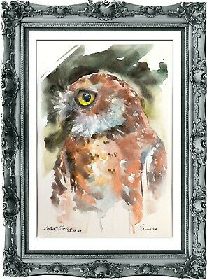 original painting owl watercolor 188LM originale art A4