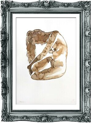 original painting naked woman 183SA watercolor peinture femme nue A3