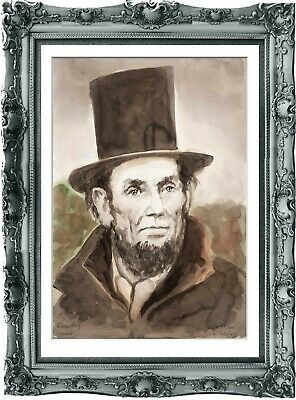 original painting art portrait Abraham Lincoln 262UV watercolor  A3