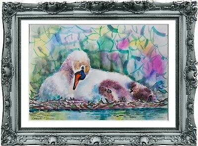 original painting Swan watercolor 267UV peinture originale art A3