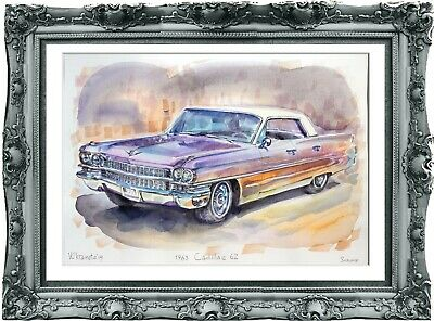 original drawing car Cadillac 62 1963 291UV art watercolor A3