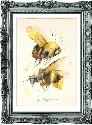 original painting bee watercolor 107HI originale art A4