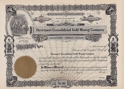 Davenport Consolidated  Gold Mining Co., 1901 Nevada I/C Stock Cert, UNC