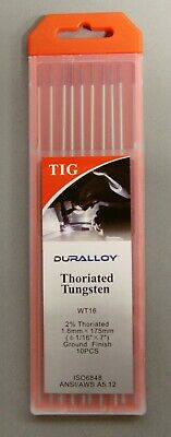 TIG Welding Tungsten's Electrode, Thoriated 2%,  1.6mm, 175mm, Red Tip (10 Pack)
