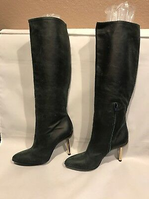 9934d78b5a6 ... Black Suede Boots with gold Medusa heel and open toe 36-6.