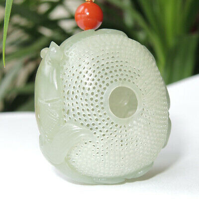 China Hetian Bluish White Jade HandCarved Fish Goldfish Hollow Out Lucky Pendant