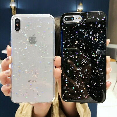 For Apple iPhone Xs Max XR 7 8 Plus 6S Bling Shockproof Soft Rubber Case Cover