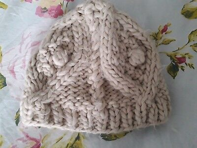 Topshop Cream Chunky Knit Hat