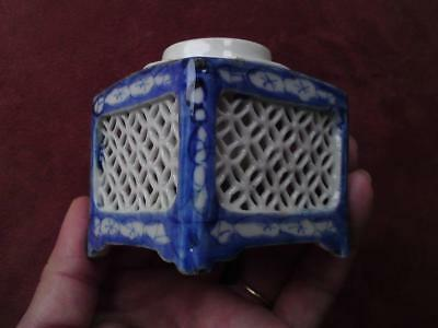 Antique Meiji Seto 天啓 古染付け blue & white reticulated porcelain washer pot inkwell