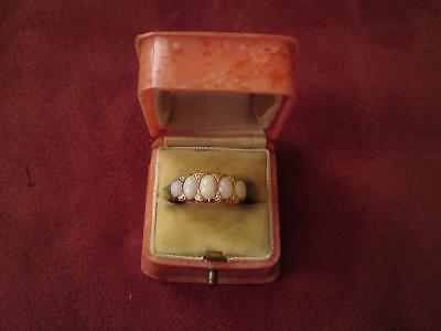 Rare Antique Chester Hallmark Edwardian 1902 18ct gold 5 stone Opal Diamond ring