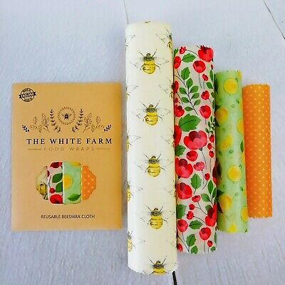 Set of 4 Natural Beeswax Food Wrap, ecological replacement to plastic, reusable
