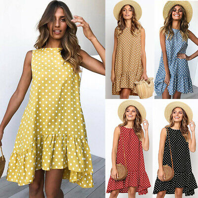 Womens Sleeveless Polka Dot Smock Dress Ladies Summer Beach Midi Swing Sundress
