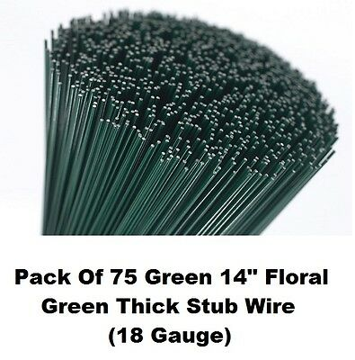 """Florists Thick Stub Wire 75 14"""" Green Lacquered Flower Arranging Stubbing Craft"""